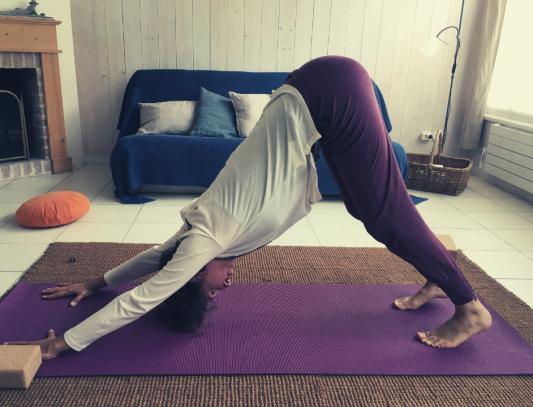 Posture yoga du chien qui s'étire